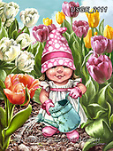 Dona Gelsinger, CHILDREN, KINDER, NIÑOS,gnome,tulips, paintings+++++,USGE2111,#k#, EVERYDAY