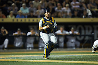 West Virginia Mountaineers catcher Ivan Gonzalez (32) on defense against the Wake Forest Demon Deacons in Game Four of the Winston-Salem Regional in the 2017 College World Series at David F. Couch Ballpark on June 3, 2017 in Winston-Salem, North Carolina. The Demon Deacons walked-off the Mountaineers 4-3. (Brian Westerholt/Four Seam Images)