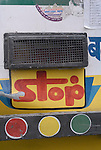 Sign on the back of a bus in New Delhi, India.
