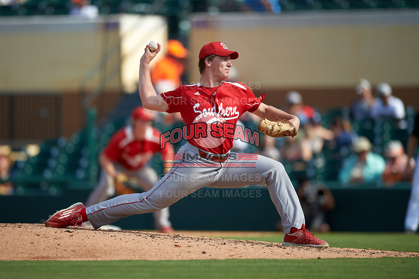 Florida Southern Moccasins relief pitcher Stephen Brooks (37) delivers a pitch during an exhibition game against the Detroit Tigers on February 29, 2016 at Joker Marchant Stadium in Lakeland, Florida.  Detroit defeated Florida Southern 7-2.  (Mike Janes/Four Seam Images)