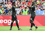 Crystal Palace midfielder Bakary Sako (R) celebrates with teammate Wilfried Zaha during the Premier League Asia Trophy match between West Bromwich Albion and Crystal Palace at Hong Kong Stadium on 22 July 2017, in Hong Kong, China. Photo by Weixiang Lim / Power Sport Images
