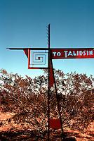 F.L. Wright: Taliesin West. Sign at turn-off road.  Photo '77.