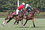 WELLINGTON, FL - FEBRUARY 19: Coca Cola's Julian de Lusarreta battles for the ball with Tonkawa's Jeff Hildebrand as Coca Cola 9 defeats Tonkawa 8 in overtime with a Golden Goal on a Penalty 2 by Julio Arellano, in the William Ylvisaker Cup Final, at the International Polo Club, Palm Beach on February 19, 2017 in Wellington, Florida. (Photo by Liz Lamont/Eclipse Sportswire/Getty Images)