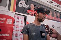 pre-race interview at the teambus for Thomas De Gendt (BEL/Lotto Soudal)<br /> <br /> Stage 10: Annecy > Le Grand-Bornand (159km)<br /> <br /> 105th Tour de France 2018<br /> ©kramon