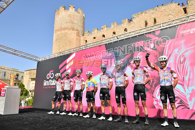 EF Pro Cycling at sign on before the start of Stage 2 of the 103rd edition of the Giro d'Italia 2020 running 149km from Alcamo to Agrigento, Sicily, Italy. 4th October 2020.  <br /> Picture: LaPresse/Massimo Paolone | Cyclefile<br /> <br /> All photos usage must carry mandatory copyright credit (© Cyclefile | LaPresse/Massimo Paolone)
