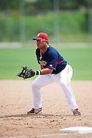 GCL Red Sox first baseman Rafael Oliveras (2) during the first game of a doubleheader against the GCL Rays on August 9, 2016 at JetBlue Park in Fort Myers, Florida.  GCL Rays defeated GCL Red Sox 5-4.  (Mike Janes/Four Seam Images)