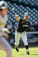 Hawaii Rainbow Warriors pitcher LJ Brewster (22) throws the ball to first base during Houston College Classic against the Baylor Bears on March 6, 2015 at Minute Maid Park in Houston, Texas. Hawaii defeated Baylor 2-1. (Andrew Woolley/Four Seam Images)