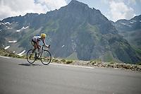 Blel Kadri (FRA/Ag2r-La Mondiale) coming down fast over the top of the Col du Tourmalet (HC/2115m/17.1km/7.3%)<br /> <br /> 2014 Tour de France<br /> stage 18: Pau - Hautacam (145km)