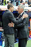 Real Madrid´s coach Carlo Ancelotti and Eibar´s coach Gaizka Garitano during 2014-15 La Liga match between Real Madrid and Eibar at Santiago Bernabeu stadium in Madrid, Spain. April 11, 2015. (ALTERPHOTOS/Luis Fernandez)