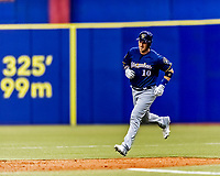 25 March 2019: Milwaukee Brewers catcher Yasmani Grandal rounds the bases after hitting a 2-run homer in the 4th inning of an exhibition game against the Toronto Blue Jays at Olympic Stadium in Montreal, Quebec, Canada. The Brewers defeated the Blue Jays 10-5 in the first of two MLB pre-season games in the former home of the Montreal Expos. Mandatory Credit: Ed Wolfstein Photo *** RAW (NEF) Image File Available ***
