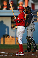 August 31, 2009:  Shortstop Ryan Jackson of the Batavia Muckdogs at bat during a game at Dwyer Stadium in Batavia, NY.  The Muckdogs are the Short-Season Class-A affiliate of the St. Louis Cardinals.  Photo By Mike Janes/Four Seam Images