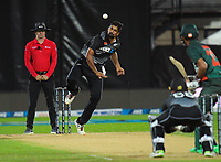 NZ's Ish Sodhi bowls during the second International T20 cricket match between the New Zealand Black Caps and Bangladesh at McLean Park in Napier, New Zealand on Tuesday, 30 March 2021. Photo: Dave Lintott / lintottphoto.co.nz