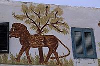 Afrique/Egypte/Env de Louxor/Ancienne Thèbes/El Go Rno: Maison d'un habitant qui a fait le pélerinage à la Mecque - Peinture de Lion