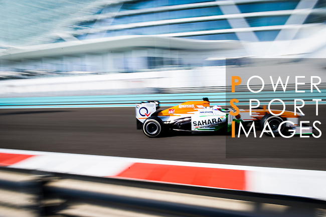 Paul Di Resta of Great Britain and Sahara Force India drives during the Abu Dhabi Formula One Grand Prix 2013 at the Yas Marina Circuit on November 3, 2013 in Abu Dhabi, United Arab Emirates. Photo by Victor Fraile / The Power of Sport Images