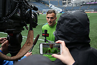 SEATTLE, WA - NOVEMBER 9: Jordan Morris #13 of the Seattle Sounders FC talks to the media at CenturyLink Field on November 9, 2019 in Seattle, Washington.