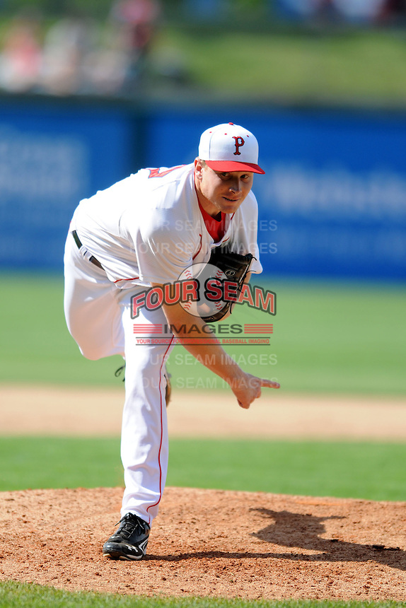 Pawtucket Red Sox pitcher Mark Melancon #37 during a game versus the Columbus Clippers at McCoy Stadium in Pawtucket, Rhode Island on May 13, 2012.   (Ken Babbitt/Four Seam Images)