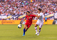 PHILADELPHIA, PA - AUGUST 29: Christen Press #23 of the United States moves past Monica Mendes #2 of Portugal during a game between Portugal and the USWNT at Lincoln Financial Field on August 29, 2019 in Philadelphia, PA.
