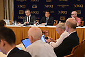 Katsuya Okada, leader of the Democratic Party, speaks at Tokyo Foreign Correspondents Club