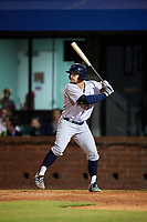 Pensacola Blue Wahoos center fielder Brian O'Grady (21) at bat during a game against the Mobile BayBears on April 25, 2017 at Hank Aaron Stadium in Mobile, Alabama.  Mobile defeated Pensacola 3-0.  (Mike Janes/Four Seam Images)