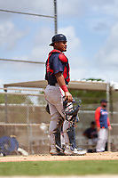 FCL Red Sox catcher Jose Garcia (37) during a game against the FCL Twins on July 3, 2021 at CenturyLink Sports Complex in Fort Myers, Florida.  (Mike Janes/Four Seam Images)