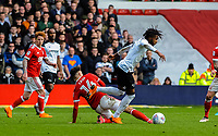 Nottingham Forest's midfielder Matty Cash (14) fouls Derby County's midfielder Kasey Palmer (7) during the Sky Bet Championship match between Nottingham Forest and Derby County at the City Ground, Nottingham, England on 10 March 2018. Photo by Stephen Buckley / PRiME Media Images.