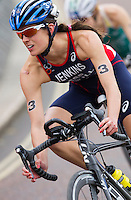 31 MAY 2014 - LONDON, GBR - Helen Jenkins (GBR) (WAL) of Great Britain and Wales takes a bend during the bike at the elite women's 2014 ITU World Triathlon Series round in Hyde Park, London, Great Britain (PHOTO COPYRIGHT © 2014 NIGEL FARROW, ALL RIGHTS RESERVED)
