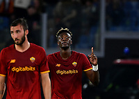 Calcio, Serie A: AS Roma vs Udinese, Olympic stadium, September 23, 2021.<br /> Roma's Tammy Abraham (R) celebrates after scoring with his teamate Bryan Cristante (L) during the Italian Serie A football match between Roma and Udinese at Rome's Olympic stadium, on September 23, 2021.<br /> UPDATE IMAGES PRESS/Isabella  Bonotto