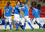St Johnstone v St Mirren.....11.01.14   SPFL<br /> Murray Davidson celebrates his goal with Steven Anderson<br /> Picture by Graeme Hart.<br /> Copyright Perthshire Picture Agency<br /> Tel: 01738 623350  Mobile: 07990 594431