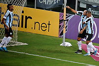 PORTO ALEGRE, RS, 22.04.2021 - GREMIO - LA EQUIDAD – O atacante Diego Souza, da equipe do Grêmio, comemora o seu gol, na partida entre Grêmio e La Equidad, pela primeira rodada da Copa Sul Americana, no estádio Arena do Grêmio, em Porto Alegre, nesta quinta-feira (22).