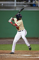 Potomac Nationals shortstop Edwin Lora (10) at bat during the second game of a doubleheader against the Salem Red Sox on May 13, 2017 at G. Richard Pfitzner Stadium in Woodbridge, Virginia.  Potomac defeated Salem 3-2.  (Mike Janes/Four Seam Images)