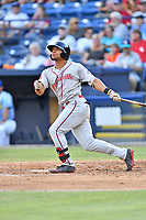Greenville Drive left fielder Tyler Hill (7) swings at a pitch during a game against the Asheville Hippies at McCormick Field on June 29, 2017 in Asheville, North Carolina. The Drive defeated the Tourists 9-6. (Tony Farlow/Four Seam Images)
