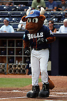 Durham Bulls mascot Wool E. Bull at home plate during a game versus the Louisville Bats at Durham Bulls Athletic Park in Durham, North Carolina on May 18, 2011. Durham defeated Louisville by the score of 7-4.    Robert Gurganus/Four Seam Images
