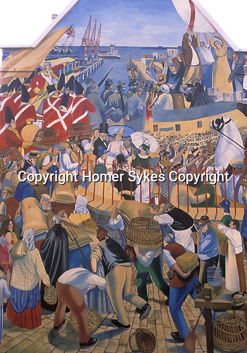 St Helier wall painting depicting the history of Jersey The Channel islands UK. 2000s
