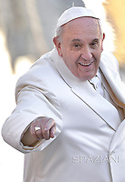 Pope Francis during general audience  at the Vatican,Febray 11, 2015