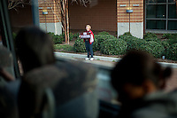 NORFOLK, VA--A lone Stanford booster greets the team bus upon arrival at the Ted Constant Convocation Center at Old Dominion University for the second round of the 2012 NCAA Championships.
