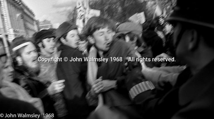 Police and protestors clash, in Grosvenor Square, anti-Vietnam war demonstration march from Trafalgar Sq to Grosvenor Sq Sunday 17th March 1968.