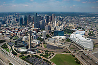 aerial photograph of the Dallas, Texas skyline, the Kay Bailey Hutchison Convention Center at the right, the Reunion Tower at right