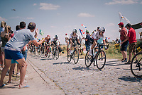 Michal Kwiatkowski (POL/SKY) & Geraint Thomas (GBR/SKY) piloting Chris Froome (GBR/SKY) at the end of pavé sector #9<br /> <br /> Stage 9: Arras Citadelle > Roubaix (154km)<br /> <br /> 105th Tour de France 2018<br /> ©kramon