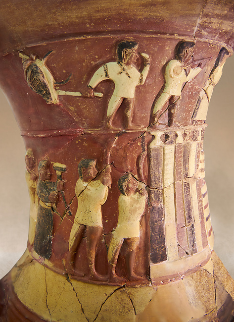 Hüseyindede vases, Old Hittite Polychrome Relief vessel close up  depicting top and second friezes showing a procession of musicians and dancers moving towards a temple building, 16th century BC. Huseyindede. Çorum Archaeological Museum, Corum, Turkey. Against a warm art bacground.