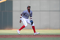 Shortstop Shervyen Newton (3) of the Columbia Fireflies, playing as the Chicharrones de Columbia, plays defense in a game against the Charleston RiverDogs on Friday, July 12, 2019 at Segra Park in Columbia, South Carolina. The RiverDogs won, 4-3, in 10 innings. (Tom Priddy/Four Seam Images)