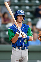 Right fielder Cal Jones (9) of the Lexington Legends at bat during a game against the Greenville Drive on Saturday, September 1, 2018, at Fluor Field at the West End in Greenville, South Carolina. Greenville won, 9-6. (Tom Priddy/Four Seam Images)