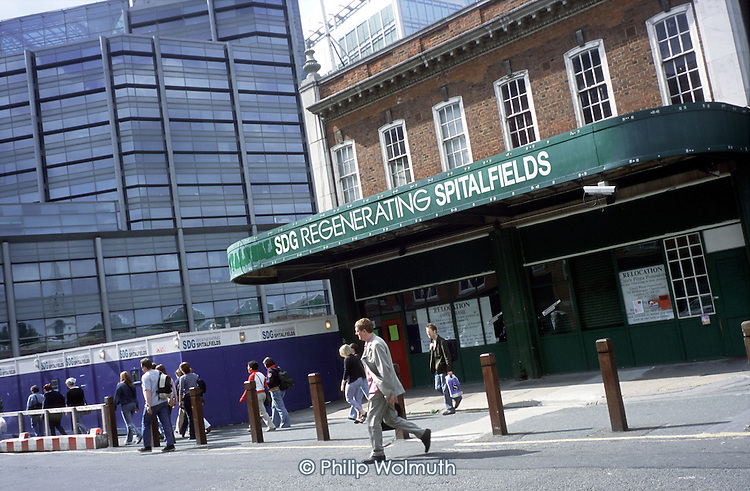 Regeneration of Spitalfields close to the Broadgate business complex and the City of London
