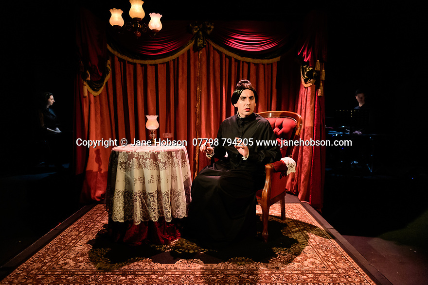 "London, UK. 03.12.20. ALP Musicals present the world premiere of ""The Fabulist Fox Sister – A Musical Lie"", by Michael Conley (book and lyrics) and Luke Bateman (music), at Southwark Playhouse. Directed by Adam Lenson, with musical direction by Tamara Saringer, set and costume design by Libby Todd, and lighting design by Matt Daw. The production was conceived entirely for multi-camera streaming. Picture shows: Michael Conley, as Kate Fox. Photograph © Jane Hobson."