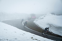 Giulio Ciccone (ITA/Trek - Segafredo), Hugh Carthy (GBR/EF Education - Nippo) & Joao Almeida (POR/Deceuninck - Quick Step) descending from the Passo Giau<br /> <br /> due to the bad weather conditions the stage was shortened (on the raceday) to 153km and the Passo Giau became this years Cima Coppi (highest point of the Giro).<br /> <br /> 104th Giro d'Italia 2021 (2.UWT)<br /> Stage 16 from Sacile to Cortina d'Ampezzo (shortened from 212km to 153km)<br /> <br /> ©kramon
