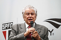 SAO PAULO, SP, 17 DE JANEIRO 2013 - APRESENTAÇÃO UNIFORME SPFC - Presidente Juvenal Juvencio durante apresentacao do uniforme da Penalty na manha desta quinta-feira no Sao Paulo Bar no Estadio Cicero Pompeu de Toledo (Morumbi) na regiao sul da capital paulista. FOTO: VANESSA CARVALHO - BRAZIL PHOTO PRESS.