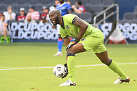 KANSAS CITY, KS - JULY 15: Brian Sylvestre #1 of Haiti rolls out the ball during a game between Canada and Haiti at Children's Mercy Park on July 15, 2021 in Kansas City, Kansas.