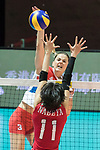 Opposite spiker Sanja Malagurski (top) of Serbia spikes the ball during the FIVB Volleyball World Grand Prix - Hong Kong 2017 match between Japan and Serbia on 22 July 2017, in Hong Kong, China. Photo by Yu Chun Christopher Wong / Power Sport Images