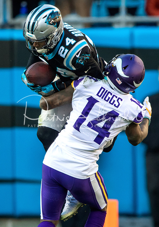Photography of the Carolina Panthers vs. the Minnesota Vikings, during their Sunday afternoon NFL game at Bank of America Stadium in Charlotte, North Carolina.<br /> <br /> Charlotte Photographer - PatrickSchneiderPhoto.com