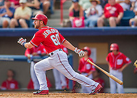 5 March 2016: Washington Nationals catcher Brian Jeroloman in action during a Spring Training pre-season game against the Detroit Tigers at Space Coast Stadium in Viera, Florida. The Nationals defeated the Tigers 8-4 in Grapefruit League play. Mandatory Credit: Ed Wolfstein Photo *** RAW (NEF) Image File Available ***
