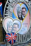 Prince William and Kate Middleton Royal Wedding memorabilia. London shop window..